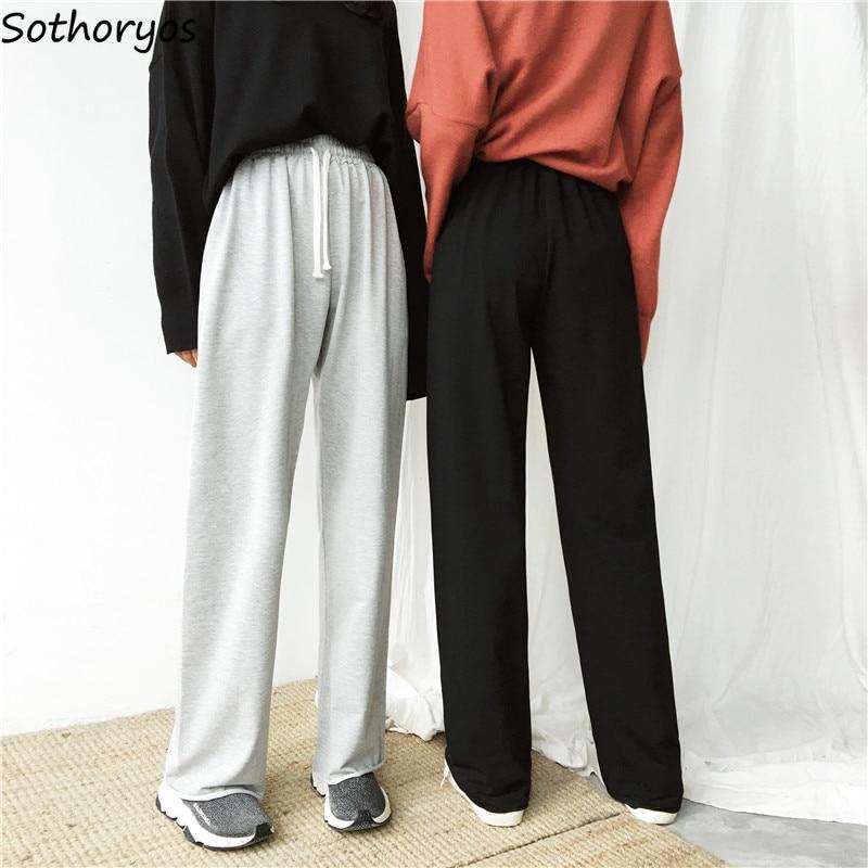 Pants Women 2020 Leisure Solid Simple Loose Full Length Elastic Waist Pant Womens Wide Leg Korean Style All-match Autumn Student
