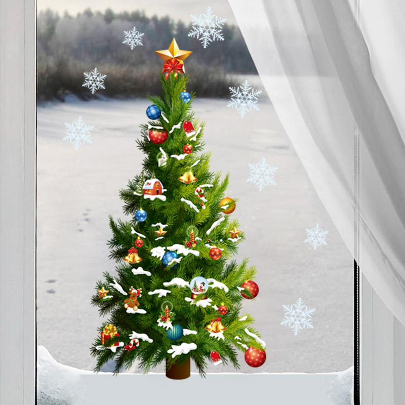 Removable christmas tree snowflake star sticker wall decal for Christmas window mural