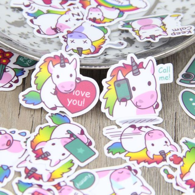 40pcs Self-made Colorful Cute Unicorn English Words Scrapbooking Stickers Women Decorative Sticker DIY Craft Decals Diary Deco