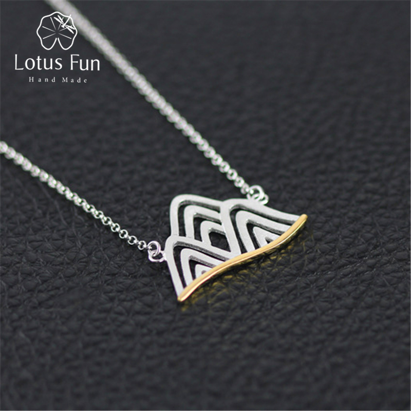 Lotus Fun Real 925 Sterling Silver Handmade Designer Fine Jewelry Mountain Necklace with Pendant Acessorios for Women Collier