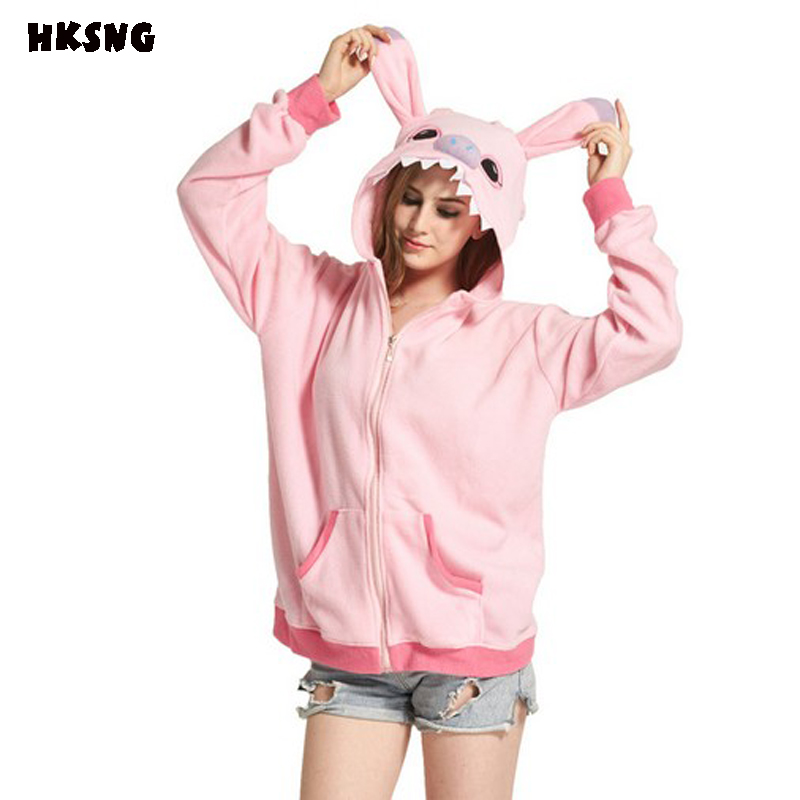 HKSNG Spring Winter Women Blue Pink Stitch Hoodies With Ear Cartoon Animal Plus Size Warm Fleece Cosplay Coat Sweatshirts