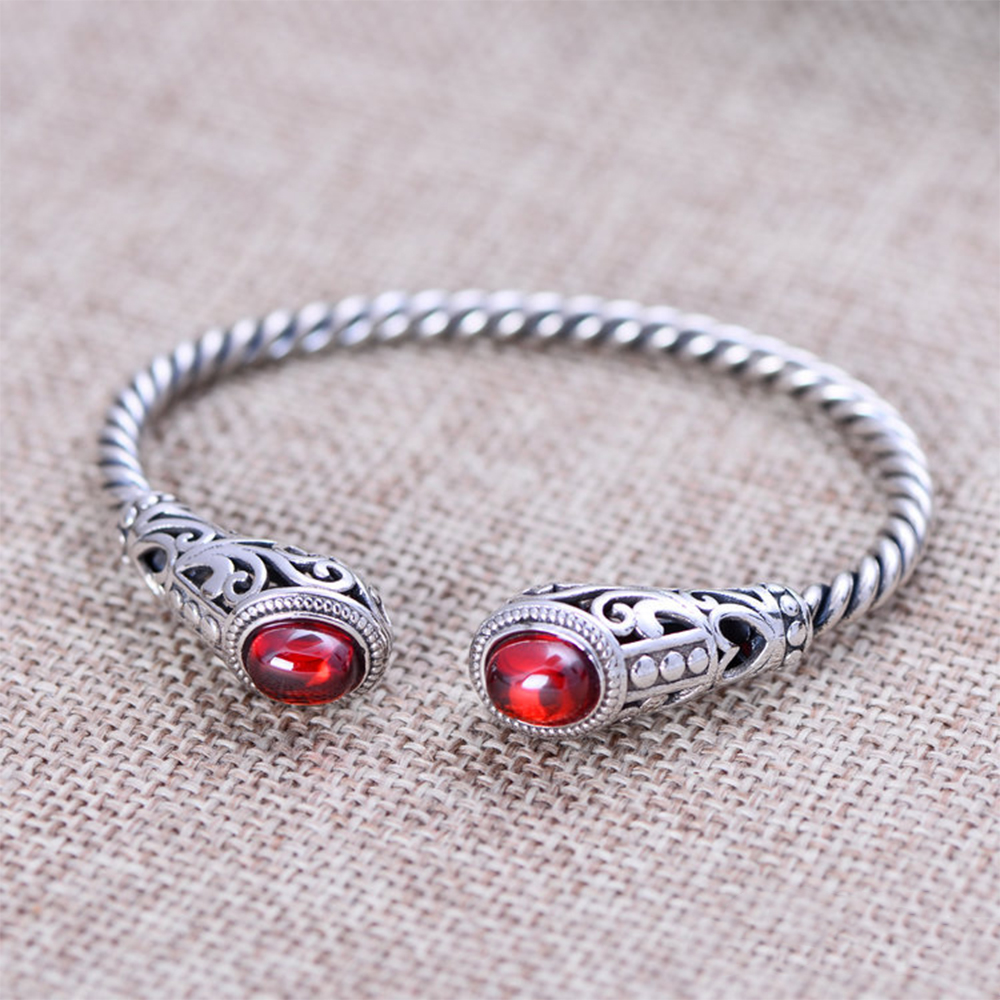 MetJakt Natural Agate/Garnet Quartz Bangle Solid 925 Sterling Silver Vintage Open Bracelets for Womens Luxury JewelryMetJakt Natural Agate/Garnet Quartz Bangle Solid 925 Sterling Silver Vintage Open Bracelets for Womens Luxury Jewelry