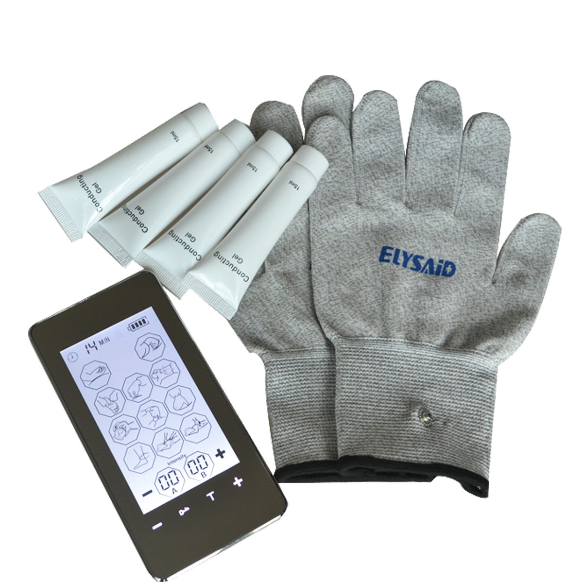 Touch Screen Smart Tens Massager Electronic Puls Machine Devic 12Mode Therapy Unit With Conductive Glove And 4Pcs Conducting Gel tens led screen magic electrictronic pulse healthcare massager blood circumstance 1pair physiotherapy gloves 4pcs conducting gel