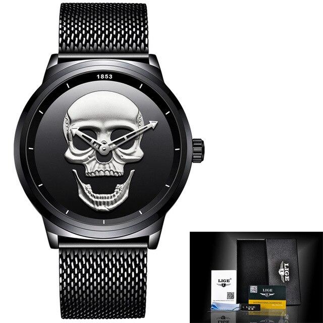 LIGE Men Skull Watch Brand Luxury Stainless Steel Quartz Watches mens Business Fashion Waterproof Retro Clock Relogio masculino | Fotoflaco.net