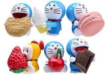6pcs/set 3-5cm Funny Happy Doraemon Strawberry Macaron Toy Miniatures PVC Action Figures Dolls Anime Figure Figurines Kids Toys