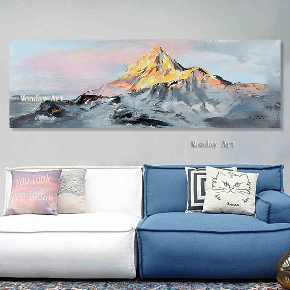 Handpainted Colorful Ocean Large Abstract Poster Canvas Art Landscape Oil Painting Wall Pictures For Living Room Modern no frame