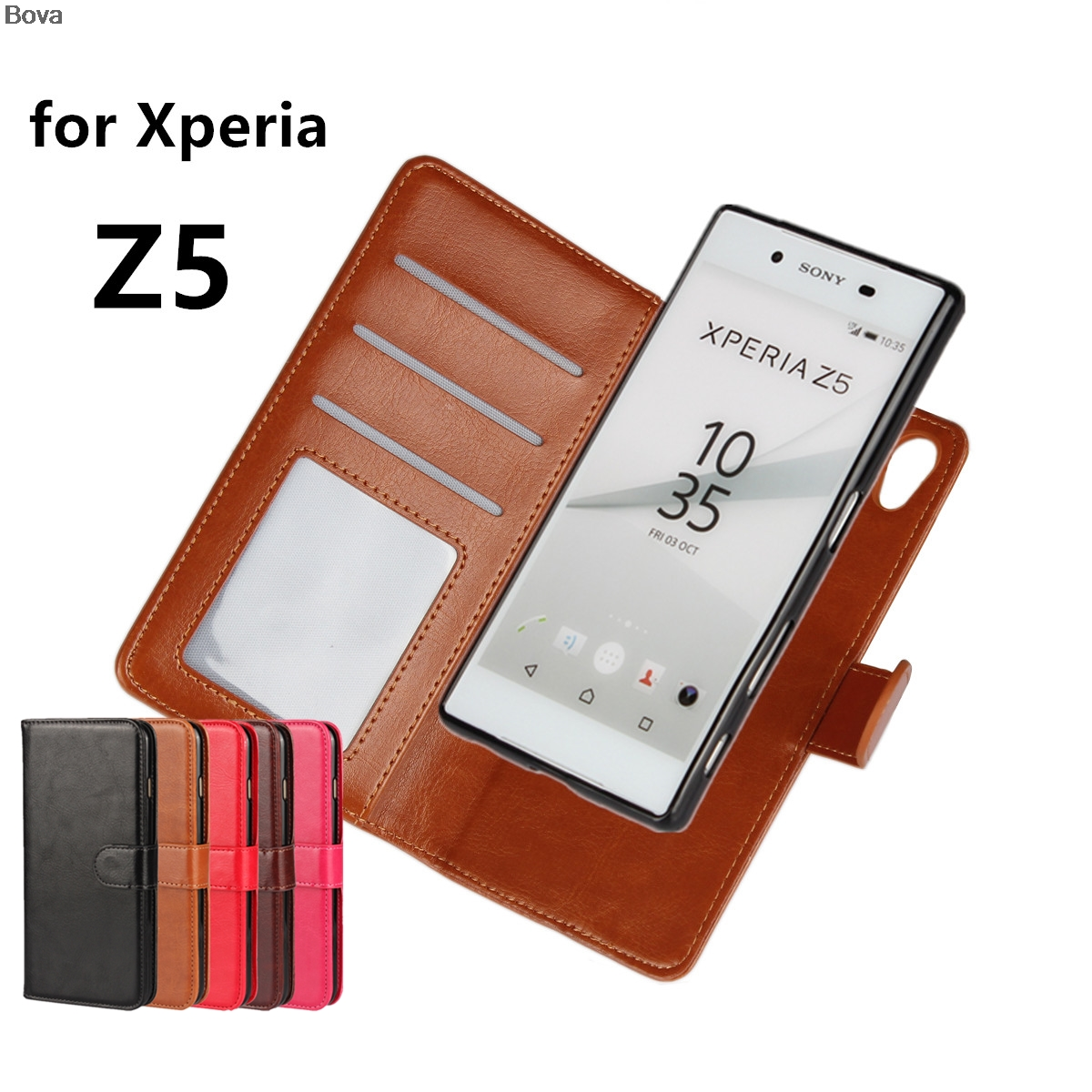 Premium Leather Cover Card Holder Holster Z5 Flip Case For <font><b>Sony</b></font> Xperia Z5 Dual E6603 <font><b>E6633</b></font> E6683 Photo Frame Fashion Phone image
