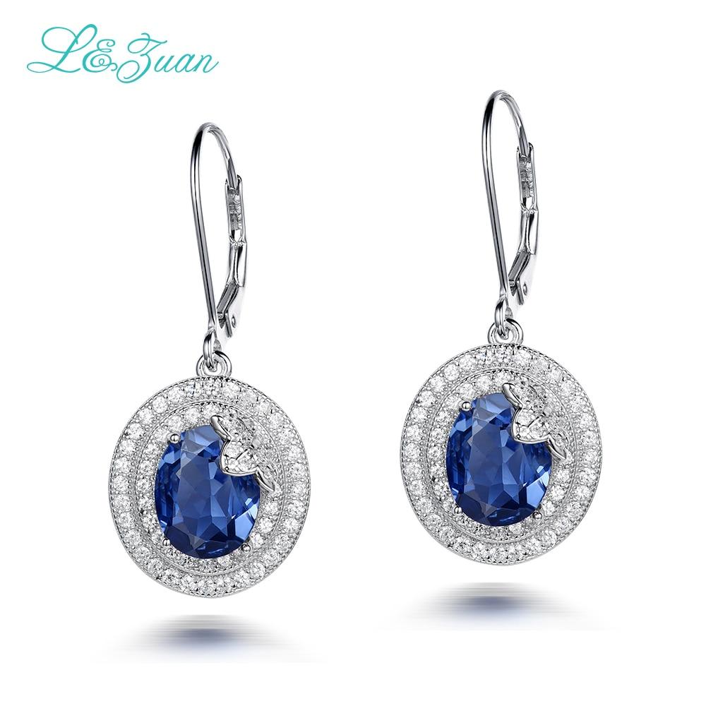 l&zuan Real 925 Sterling Silver Drop Earrings 10.3ct Blue Stone Flower Luxury Earrings Fine jewelry For Women