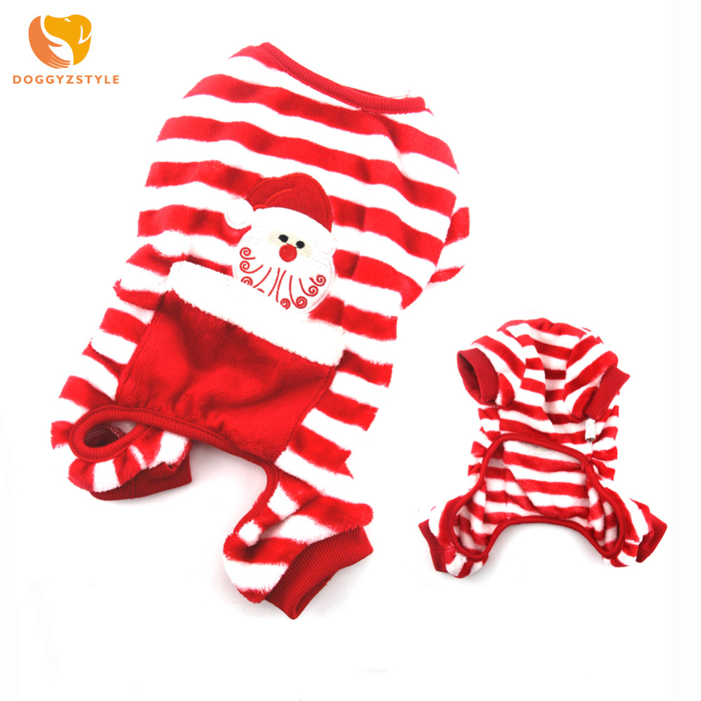 Christmas Pet Dog Clothes Puppy Stripe Pajamas Warm Lovely Jumpsuits For Small Medium Dogs Coat Pets Cats Costume DOGGYZSTYLE