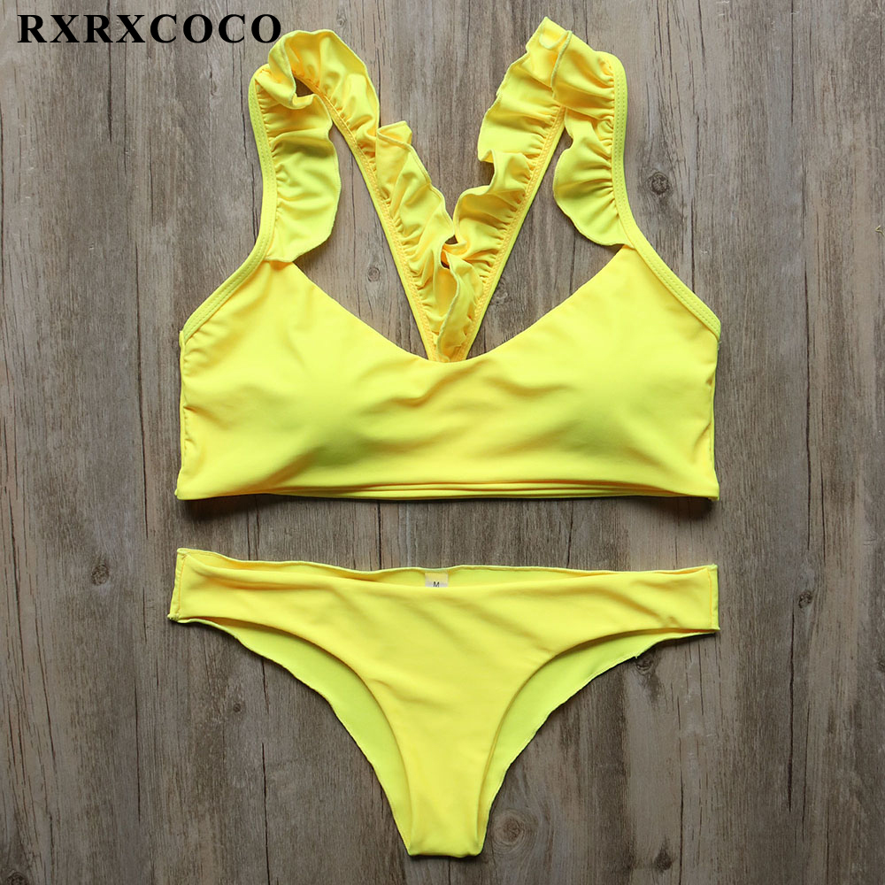 RXRXCOCO Bikini 2018 Solid Strapless Swimwear Women Bikini Set Sexy Bathing Suit Swimsuit Brazilian Lace Up Biquinis Beachwear rxrxcoco hot swimwear women sexy lace