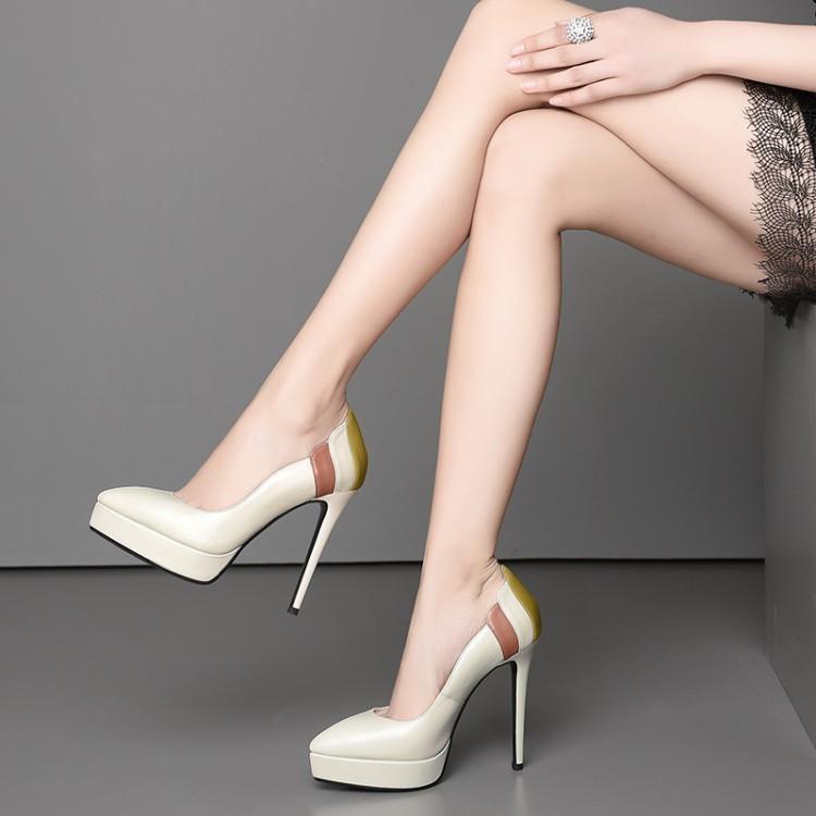Para Dedo Del Color Mujer On Cuero Mujeres Pie Beige Real Tacón De Plataforma Volantes Lujo Alto Puntiagudo Las negro Mezcla Slip Zapatos Chica Owxz8fq
