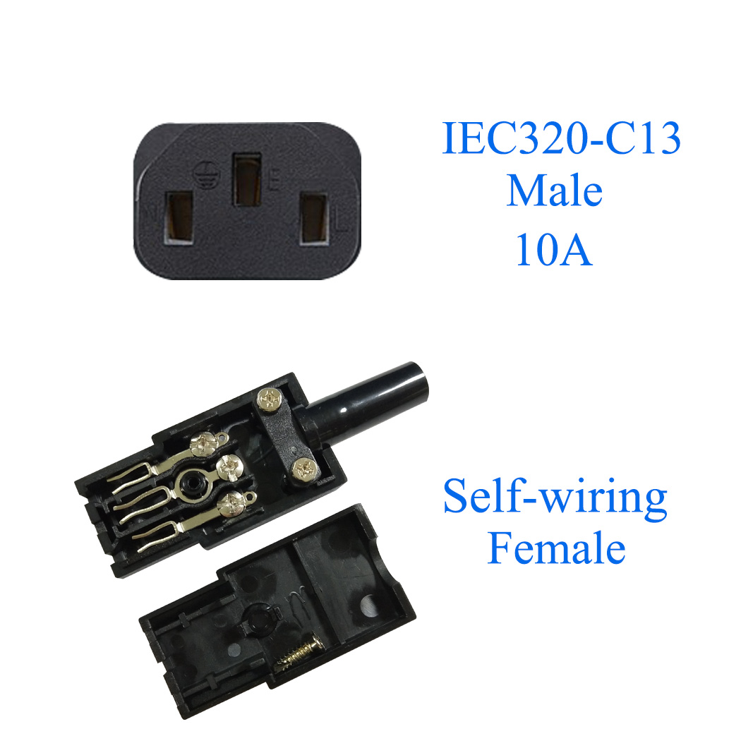 IEC 320 C13 Female Plug Adapter 3pin Socket Power Cord Rewirable Connector RS
