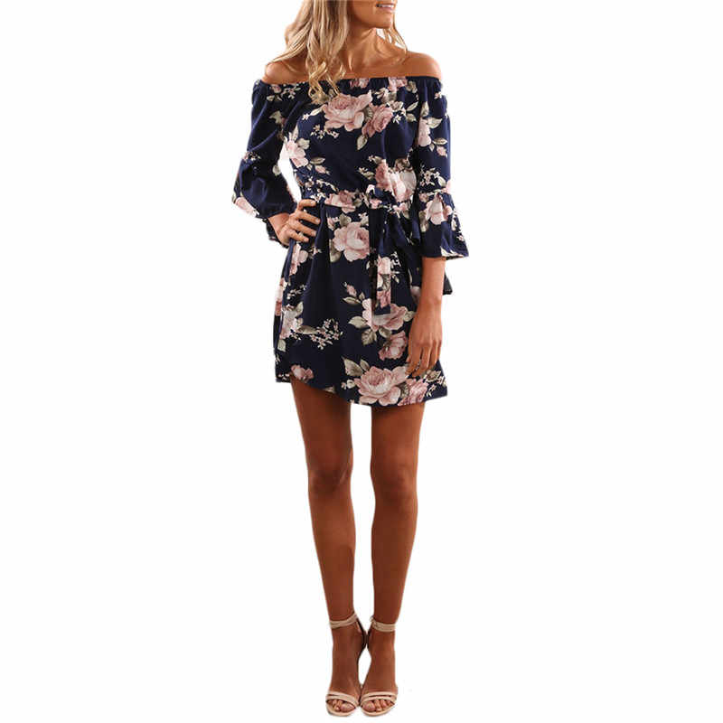 Женское шифоновое платье 2018 летнее сексуальное с открытыми плечами с цветочным принтом Boho пляжное платье праздничное платье vestidos de fiesta плюс размер 3XL