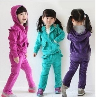 Free shipping children clothing spring/autumn Hot-selling girl cartoon modelling velvet set girl suit