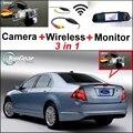 3 in1 Especial Câmera de Visão Traseira Sem Fio + Receptor + espelho Monitor de DIY FÁCIL Sistema de Estacionamento de BACKUP Para Ford Fusion 2002 ~ 2012