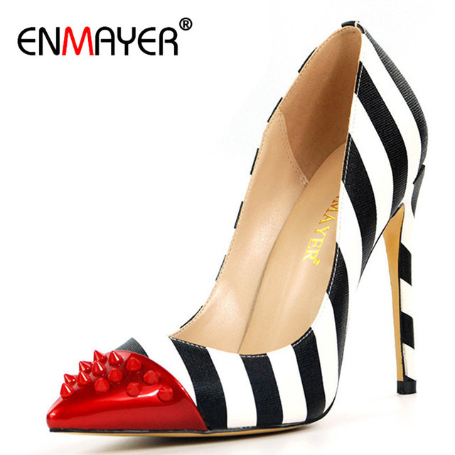 ENMAYER White Shoes Woman High Heels Blue Summer Pumps Red Pointed Toe Slip-on 2018 Top Quality Pumps Shoes Plus Size35-46 CR281