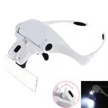 1.0X-3.5X Adjustable 5 Lens Loupe Headband 2 LED Lights Eyewear Magnifier Magnifying Glasses with Lamp Jewelry Repair Tools 2 led light headband magnifying glass eye repair magnifier with lamp 1 0 1 5 2 0 2 5 3 5x 5pc glasses loupe optical lens