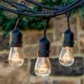1X 48ft 14.8M Heavy Duty  Xmas String Light with 24 Bulbs,Patio Cafe Rope String Backyard Lights Umbrella Festoon Garden Lights