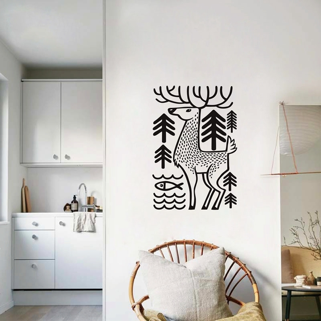 deer wall decal forest animals wall sticker , deer in the woods wild