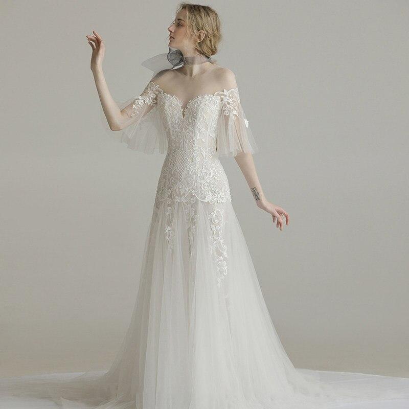 Elegant Wedding Dresses 2019 Lace Appliques Illusion Dress