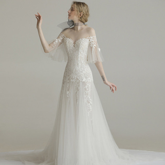 Sheath Wedding Dresses 2019: Elegant Wedding Dresses 2019 Lace Appliques Illusion Dress