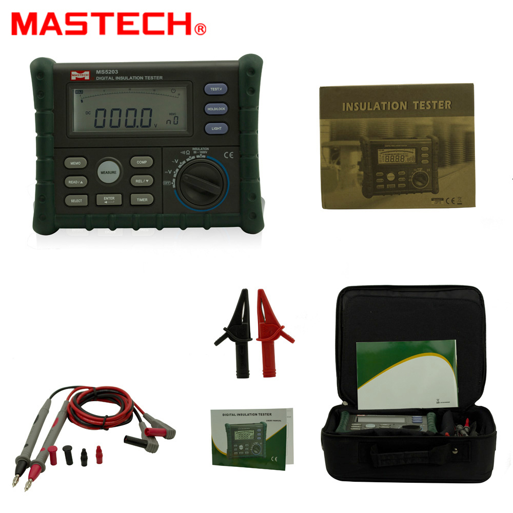MASTECH MS5203 High Precision Megger Digital Insulation Resistance Meter Tester Multimeter 10G 1000V Medidor De Aterramento mastech ms5215 high voltage digital insulation resistance tester megometro megger 5000v 3ma temp 10 70c