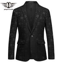 Plyesxale Men Blazer 2018 New Arrival 6XL Men's Business Casual Blazers Jackets Fashion Designer Mens Blazers Formal Black Q389
