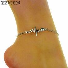 e69bc5151179 Nuevo Metal caliente electrocardiograma Simple ECG corazón encanto tobillo  pulsera cadena tobilleras para las mujeres pie joyas .