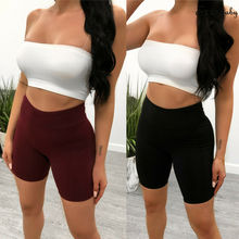 Women High Waist Workout Shorts Ladies Solid Bodycon Tummy Control Sports Fitness Short Pants Soft Gym Athletic Shorts