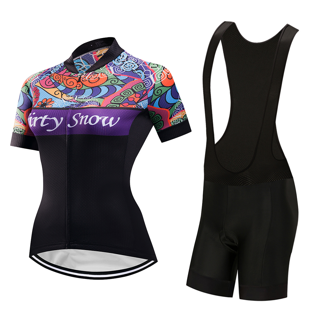 2018 Women Cycling Jersey Set Bike Team Cycling Clothes Short Sleeve Full Zipper GEL Breathable Pad Quick Dry bike Clothing