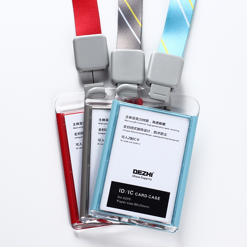 DEZHI-Fashion style Acrylic clear ID IC Card Case lowest price of work card with lanyard,can custom the LOGO,OEM! free shipping id 48 can chip for vw 10pc lot with lowest price