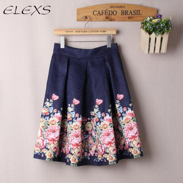 aed40e247b ELEXS 2017 Midi Skirt High Waist A Line Skirt Women Vintage Floral Print Skirt  Ball Gown Skirt for Spring Summer Autumn E7807