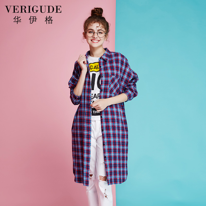 Veri Gude Women Long Plaid Blouse Plaid shirt long three colors onesize Side Slit Cotton Loose Shirts Casual European Style