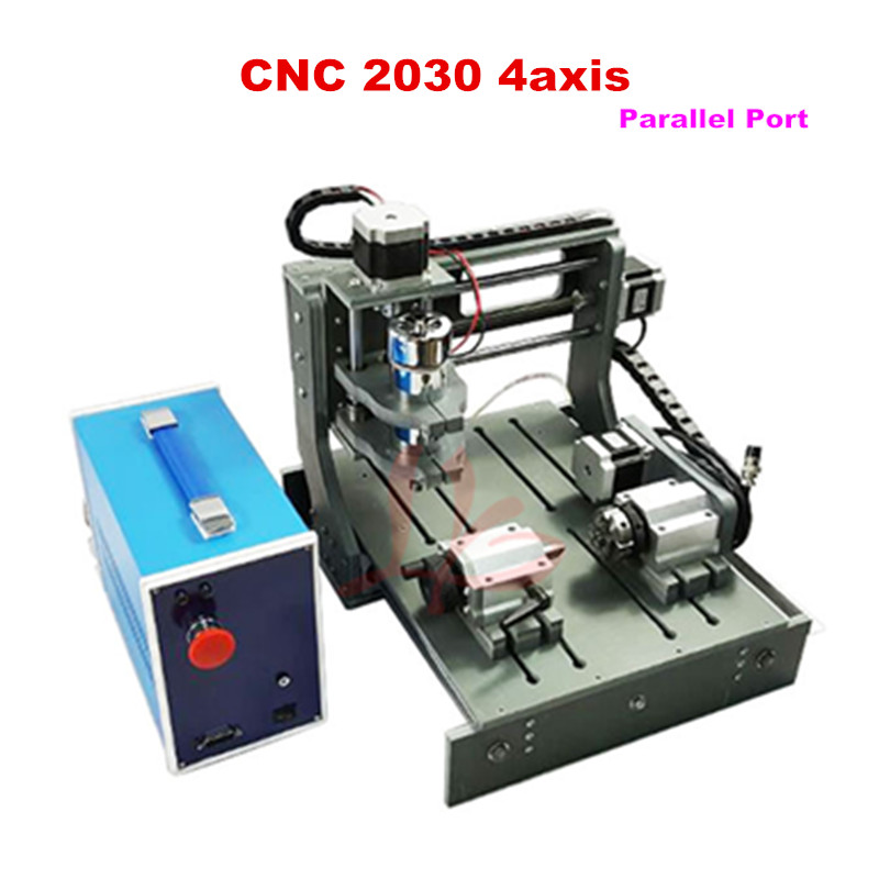 2017 2030-parallel port 4axis mini CNC router for wood metal lathe hot sale diy cnc 2030 parallel port 4 axis mini wood milling router dc spindle 300w 3 175mm drill tip