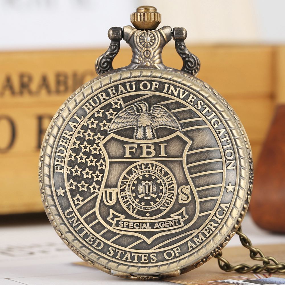 Retro Quartz Pocket Watch For Men Bronze FBI Logo Pocket Watches For Women Alloy Large Dial Thin Link Chain Pendant Watch