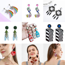 Europe Fashion Women Earrings Personality Novelty Exaggerated Nightclub Big Female Jewelry Notes Creative Rainbow