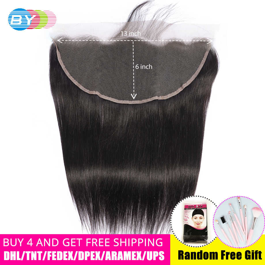 Straight Transparent Lace Frontal 13X6 Ear To Ear Free Part With Baby Hair Pre Plucked Brazilian Human Hair Remy BY Hair
