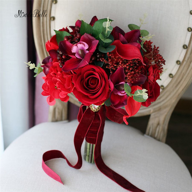 Modabelle Red Artificial Wedding Bouquets Vintage Flowers Bridal ...