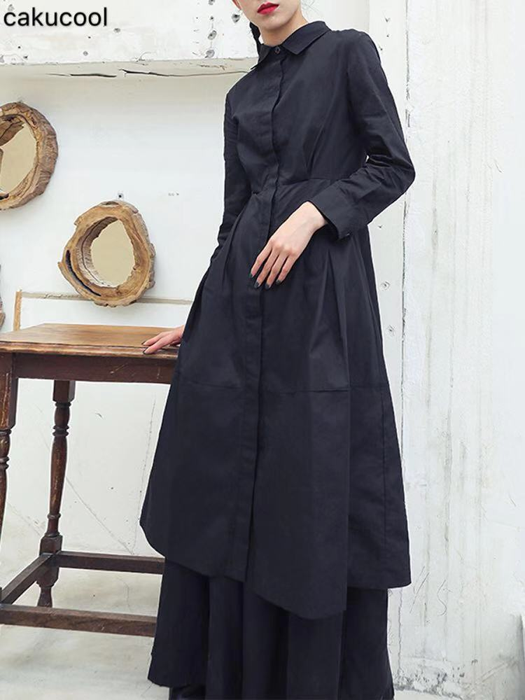 Cakucool Shirt dress 2019 Spring and Autumn Darkness Sculpt Body Receive waist thin college style long