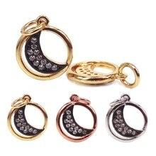 56b54bd90e0 Design da Marca de moda Lua Pingentes Oco Rodada Lua Encantos Rosa de Ouro  Prata Cor do Ouro Completa CZ Colares Mulheres jóias .