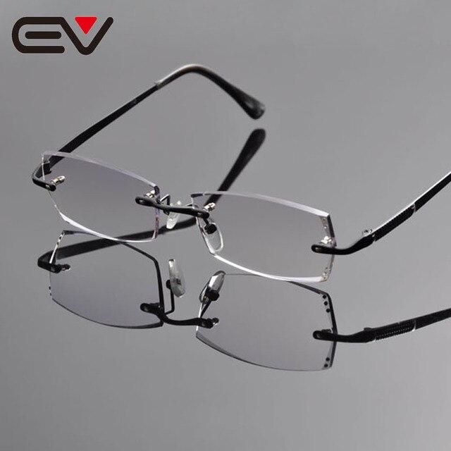 faa6852d5f 2016 Graceful Men Titanium Rimless Eyeglasses Frames Elegant Gentleman  Rinestone Trimming Optical Frames Glasses Black EV1262
