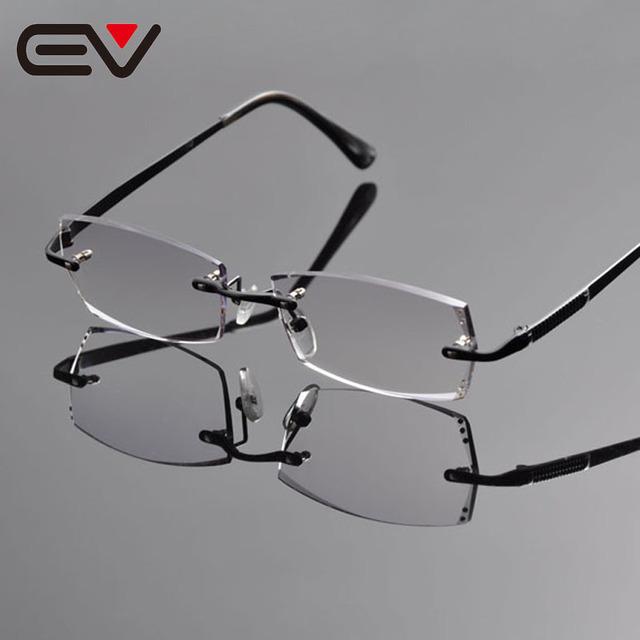 2016 gracioso homens titanium armações de óculos sem aro elegante cavalheiro rinestone aparar ev1262 armações de óculos preto