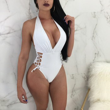 b80e1e2ad846d Solid Sexy Deep V Neck Halter 1 One-Piece Swimsuits Hollow Bandeau—Free  Shipping