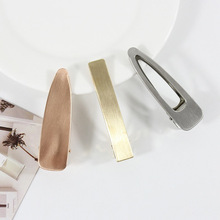 1PC Fashion Metal Hair Pins Brushed Matte Clip Women Tiara Barrettes Girls Accessories Headdress Gold Silver