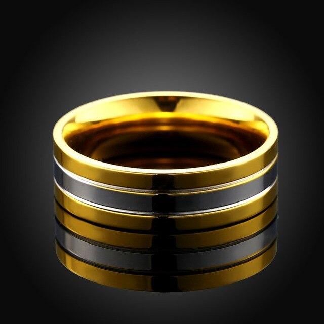 Модное кольцо 6 мм из титановой стали золотистого и серебряного