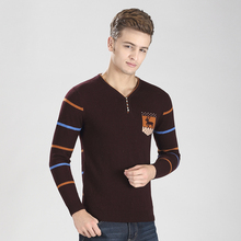 High quality newest style fashion striped men v-neck cashmere pullover knit deer sweater