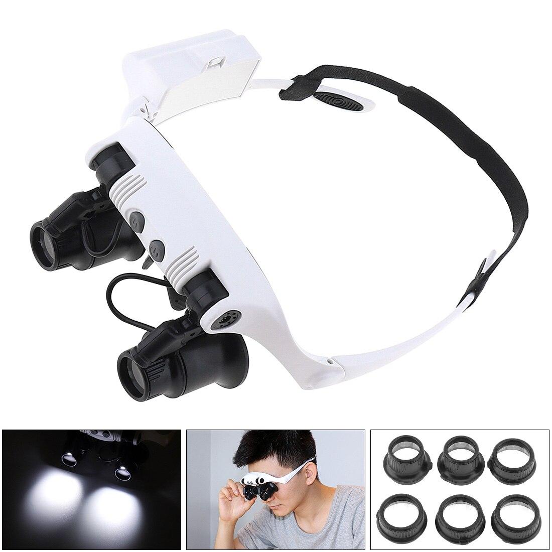 10X 15X 20X 25X Ajustável Headband Óculos Lupa Lupa Repair Tool com Luz LED e Lente para Jewel 8