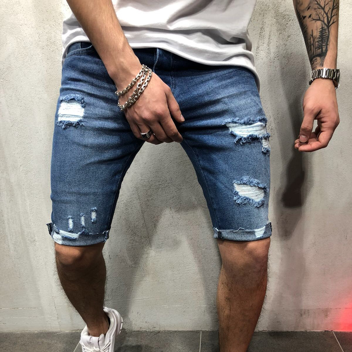 Denim Shorts Jeans Blue Male Straight Cotton Summer New Solid Hole Frayed Knee-Length