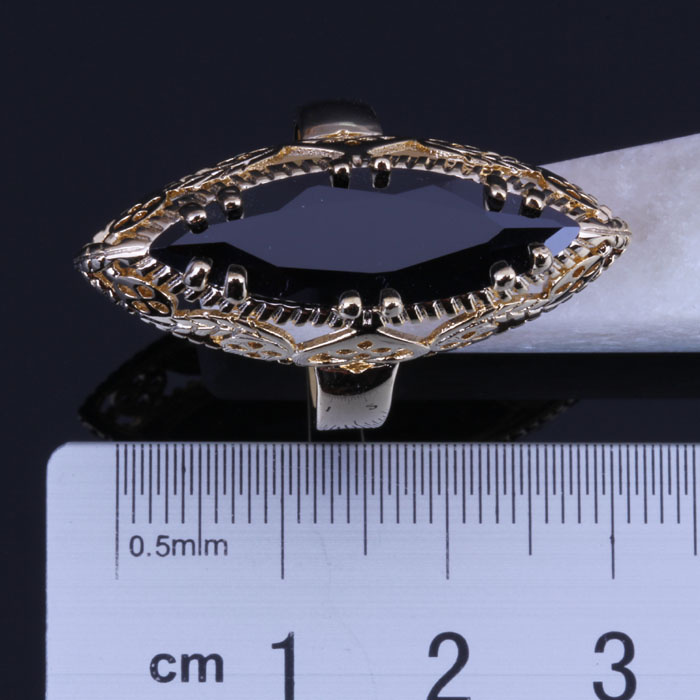 Love Monologue Vintage Party Jewelry Black imitation Onyx Ring For Women Yellow Gold Color Rings Size #5/6/7/8/9/10/11 X0014 hot selling natural onyx 18k gold plated masonic memorial religious party ring size 7 8 9 10 11 12 13 14 15