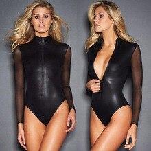 Fermuar Lateks Catsuit Gotik Faux Deri Bodysuit Kadın Fetiş PVC Oyuncak Iç Çamaşırı Örgü Uzun Kollu Dans Clubwear Erotik Kostüm